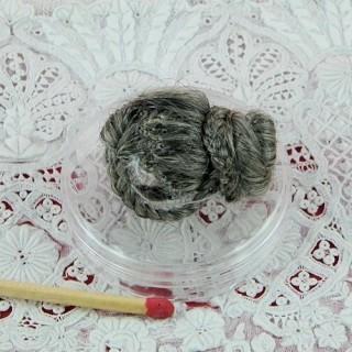 Perruque grise poupée miniature 1/12eme