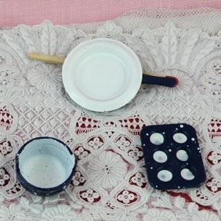 Moule poêle bol miniatures métal cuisine maison poupée