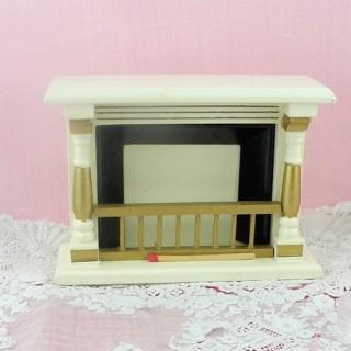 Cheminée miniature maison poupée .