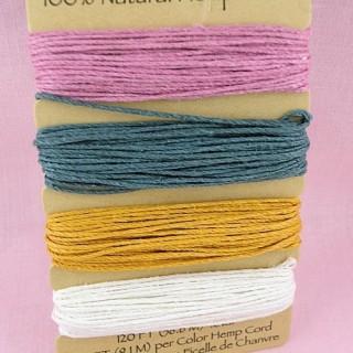 Ficelle chanvre cordon lacet fil bijoux 0,8 mm.
