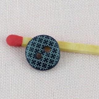 Bouton mercerie carreaux 1 cm.