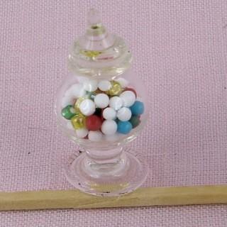 Bocal friandises verre miniature maison poupee avec couvercle