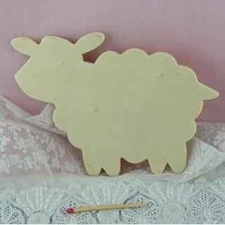 Mouton bois découpé décoration enfant 8 cm.