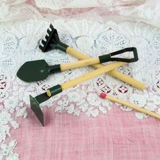Outils jardin miniature poupée Pelle binette râteau