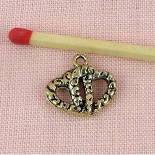 Breloque double coeur Pendentif Coeur double évidé charms 15 mm.