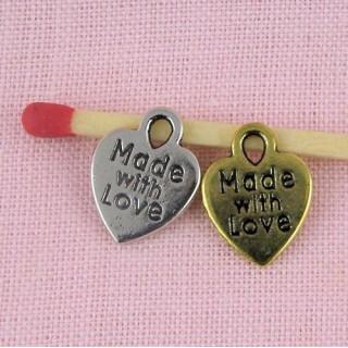 Pendentif coeur étiquette made with love, breloque coeur.