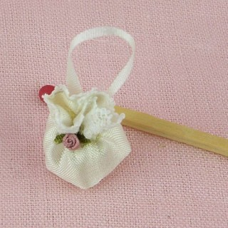 Sac àmain tissu chaine miniature maison poupée 2 cm