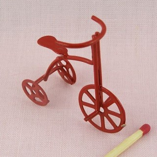 Tricycle métal rouge miniature 45 mm.