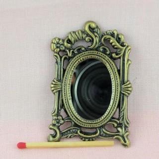 Miroir Rococo miniature poupée métal, miniature maison poupée .