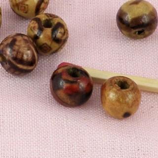 Perles bois peintes 9 mm