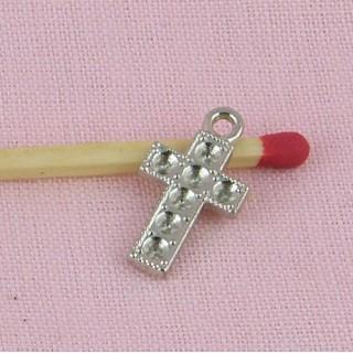 Pendentif croix strass, chapelet, bijou poupée communiante, religieuse.