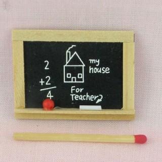 Ardoise miniature décorative, craie éponge 4,5 x 3,5cm.