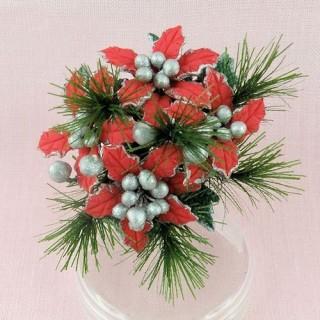 Poinsettia décoration Noël miniature maison poupée
