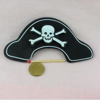 Chapeau pirate tête de mort en bois, décoration enfant, 90 mm.
