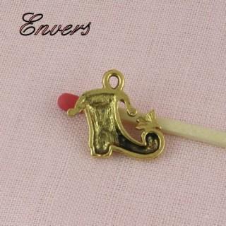 Poulaine, chaussure moyen à¢ge métal, breloque, pendentif, charms 1,6 cm.
