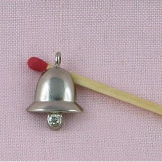 Cloche strass clochette plate breloque bijoux 2 cm.