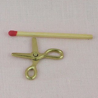 Ciseaux miniatures dorés articulés,