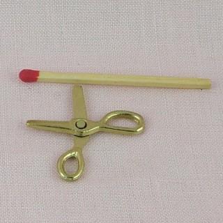 Ciseaux métal doré articulés, 2,8 cm.