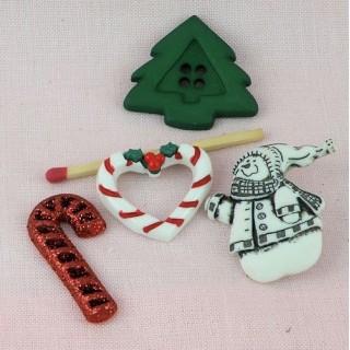 4 boutons Noël cookies