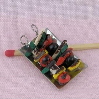 Brochette garnie miniature maison poupée.