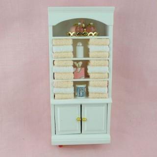 Etagère meuble maison poupée, lingère bois blanc, 16cm x 7cm