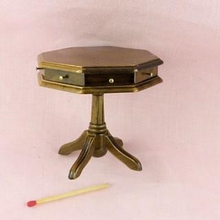 Table tiroirs octogonale bois meuble miniature maison poupée