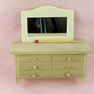 Commode Coiffeuse miniature bois brut maison poupée