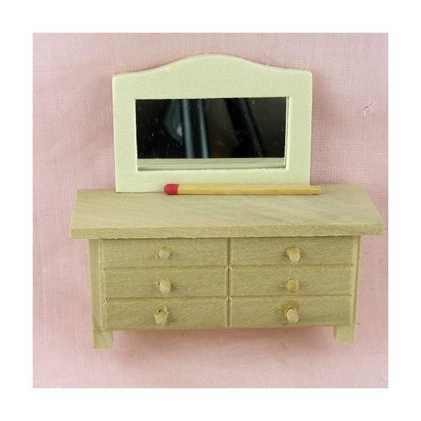 commode coiffeuse miniature bois brut maison poup e commode miniatu. Black Bedroom Furniture Sets. Home Design Ideas