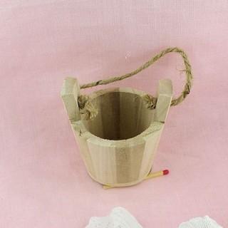 Seau baquet bois miniature poupée,