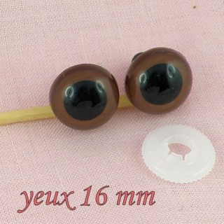 Yeux àfixer peluche 16 mm