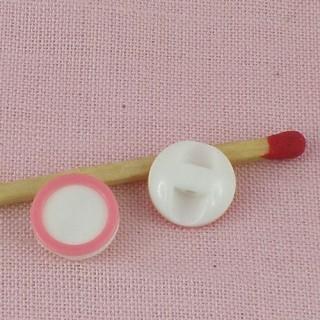 Bouton à pied, bicolore, cercle rose, 1 cm.