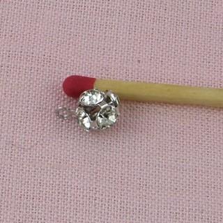 Perle boule strass  breloque boucle oreille, 6 mm.