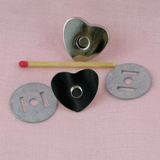 Pression aimantée, fermeture magnétique Coeur, 2 cm.