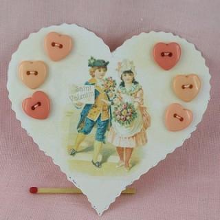 Carte coeur rétro enfants  boutons coeurs.