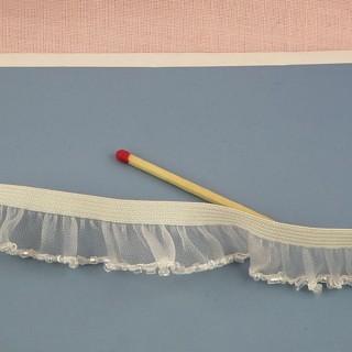 Ruban volants élastiqué perles 2 cm.