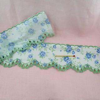 Broderie anglaise imprimée fleurs entre-deux 7 cm.