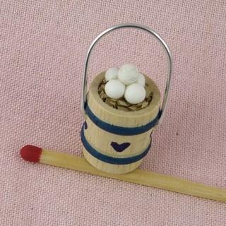Seau oeufs miniature maison poupée,