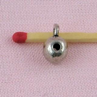 Perle métal boule accroche breloque, 7mm.