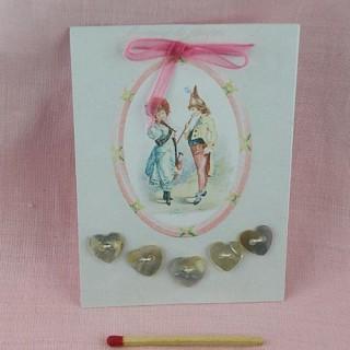 Carte rétro  boutons coeurs amour 1900.