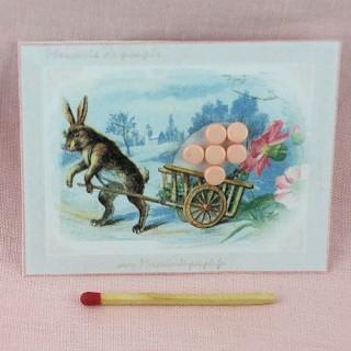 Carte boutons 4 mm rétro Paques