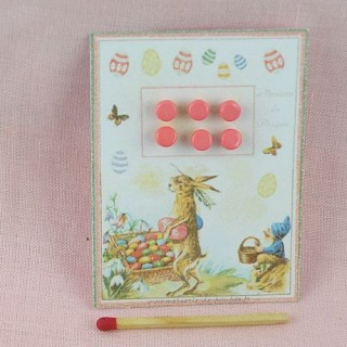 Vintage Easter card of tiny shank buttons, 5 cms x 7 cms