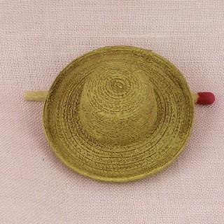 Chapeau paille plastique minuscule 4 cm.