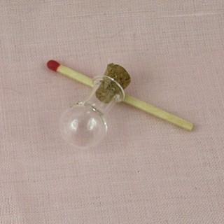 Bouteille mini en verre fiole ronde boule 2 cm.