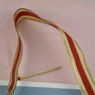 Ruban metalisé rouge et or 16 mm