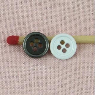 Boutons mercerie métal 4 trous 9 mm.