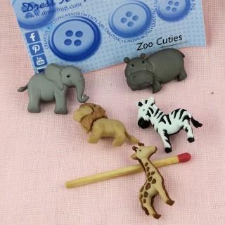 Bouton Dress it up animaux jungle zoo,