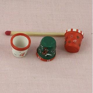 Pot fleurs miniature maison poupée 2 cm.