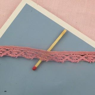 Dentelle coton rose 1 cm au mètre