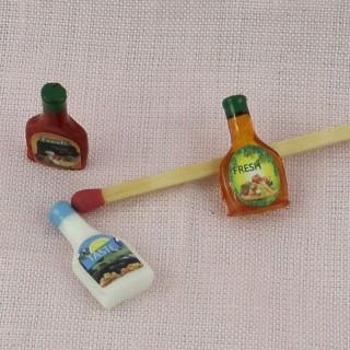 Flacons sauce miniature maison poupée