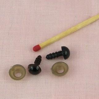 Yeux marron cuvette àfixer peluche 8 mm